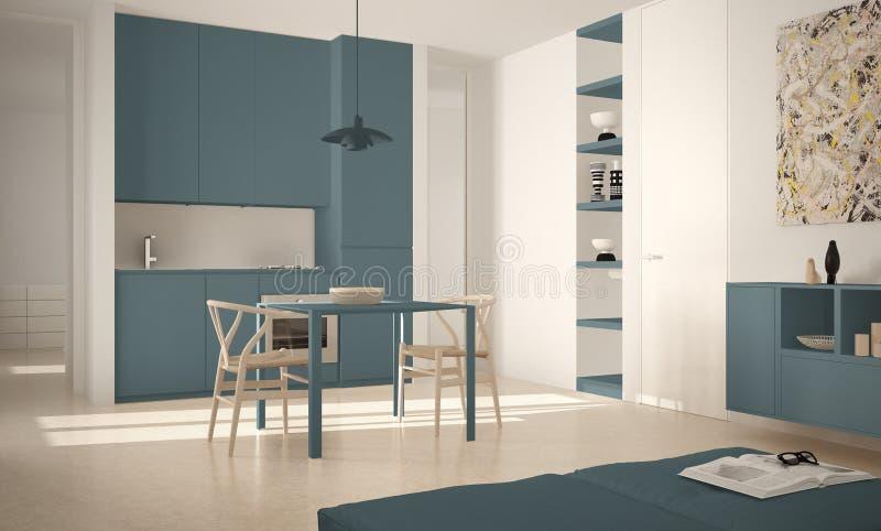 Cozinha brilhante moderna minimalista com mesa de jantar e cadeiras, interior grande das janelas, o branco e o azul da arquitetur ilustração do vetor