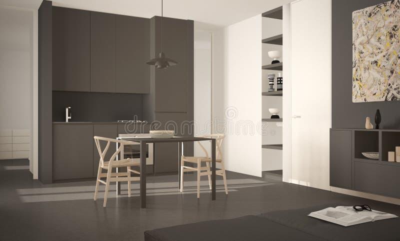 Cozinha brilhante moderna minimalista com mesa de jantar e cadeiras, interior grande das janelas, o branco e o cinzento da arquit ilustração royalty free