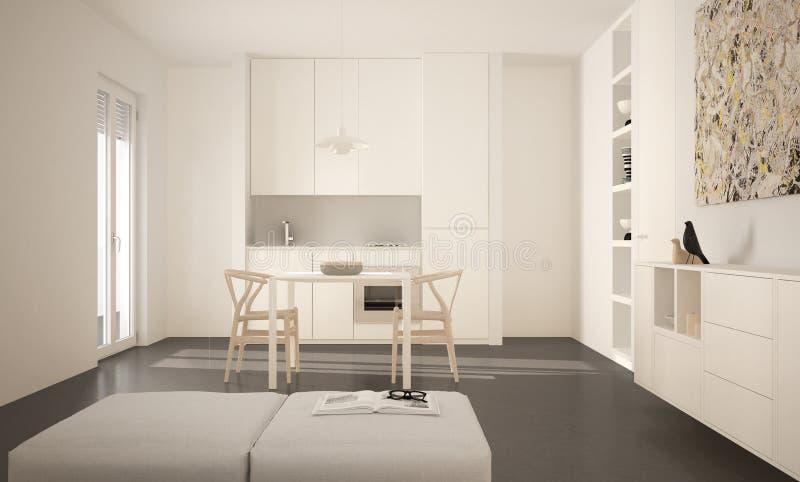 Cozinha brilhante moderna minimalista com mesa de jantar e cadeiras, interior grande das janelas, o branco e o cinzento da arquit ilustração stock