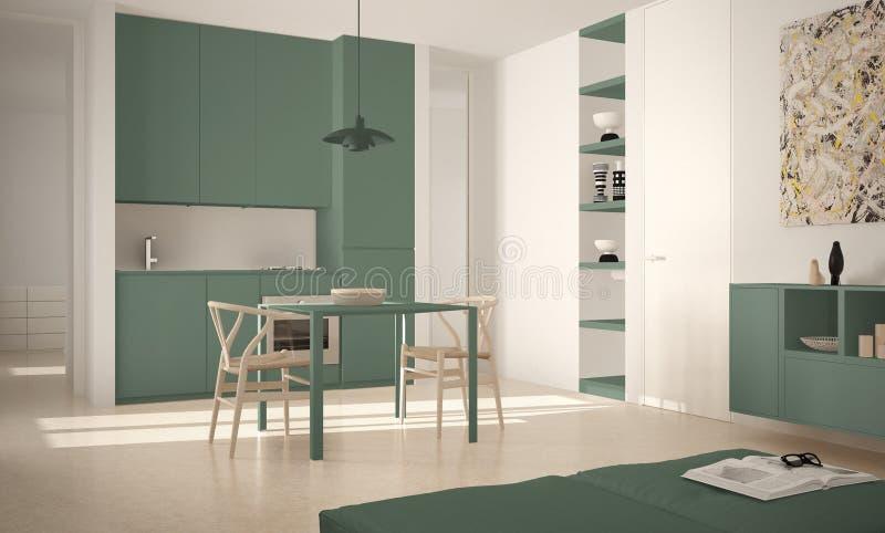 Cozinha brilhante moderna minimalista com mesa de jantar e cadeiras, interior grande das janelas, o branco e o verde da arquitetu ilustração stock