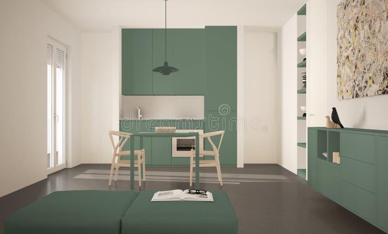 Cozinha brilhante moderna minimalista com mesa de jantar e cadeiras, interior grande das janelas, o branco e o verde da arquitetu ilustração royalty free