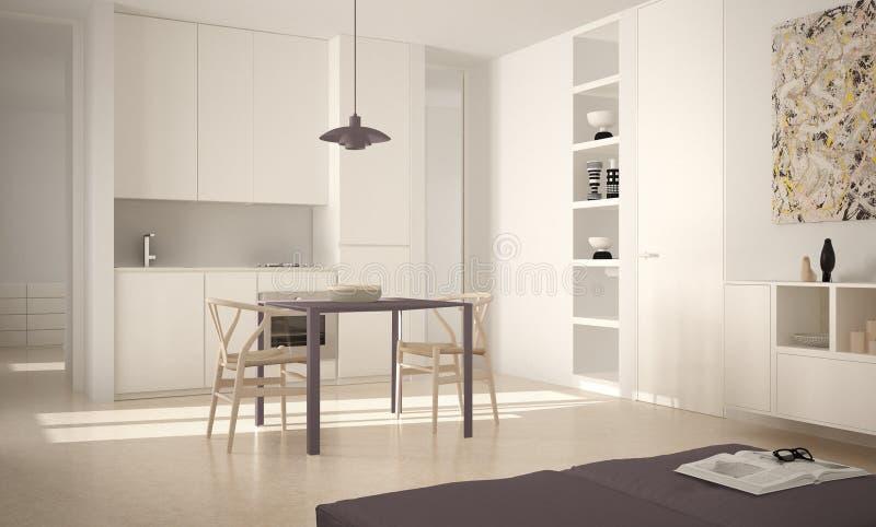 Cozinha brilhante moderna minimalista com mesa de jantar e cadeiras, interior grande das janelas, o branco e o vermelho da arquit ilustração stock