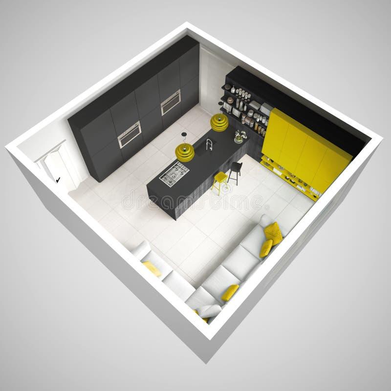 Cozinha cinzenta de Minimalistic, com detalhes de madeira e amarelos, mínima ilustração do vetor