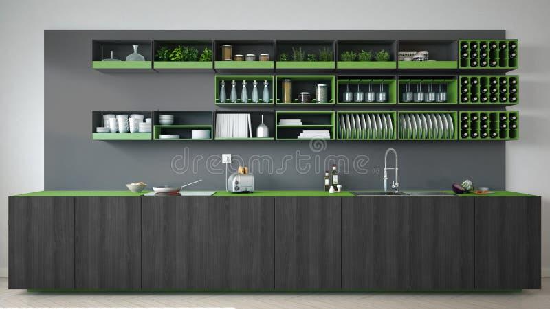 Cozinha cinzenta escandinava com os detalhes de madeira e verdes, mínimos imagens de stock royalty free