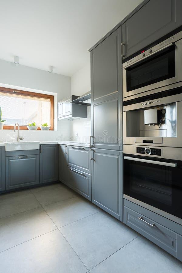 Cozinha com armários do verde azeitona fotografia de stock