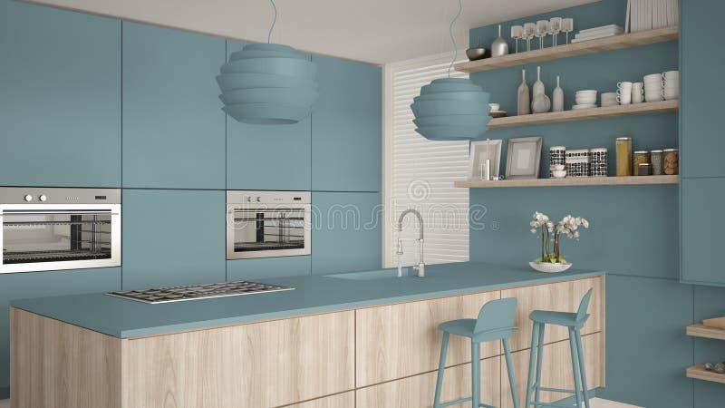 Cozinha com prateleiras e armários azuis e de madeira modernos, ilha com tamboretes Sala de visitas contemporânea, arquitetura mi ilustração stock