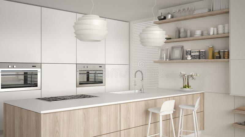 Cozinha com prateleiras e armários brancos e de madeira modernos, ilha com tamboretes Sala de visitas contemporânea, arquitetura  ilustração do vetor