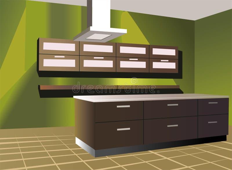 Cozinha com vetor verde da parede ilustração stock