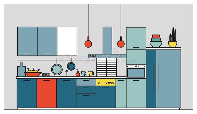 Cozinha completamente da mobília moderna, aparelhos eletrodomésticos, cookware, cozinhando facilidades, equipamento e as decoraçõ ilustração do vetor