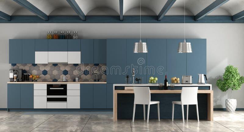 Cozinha contemporânea branca e azul ilustração royalty free