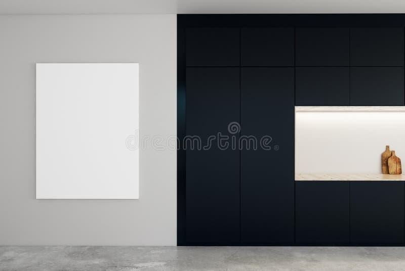 Cozinha contemporânea com cartaz vazio ilustração do vetor
