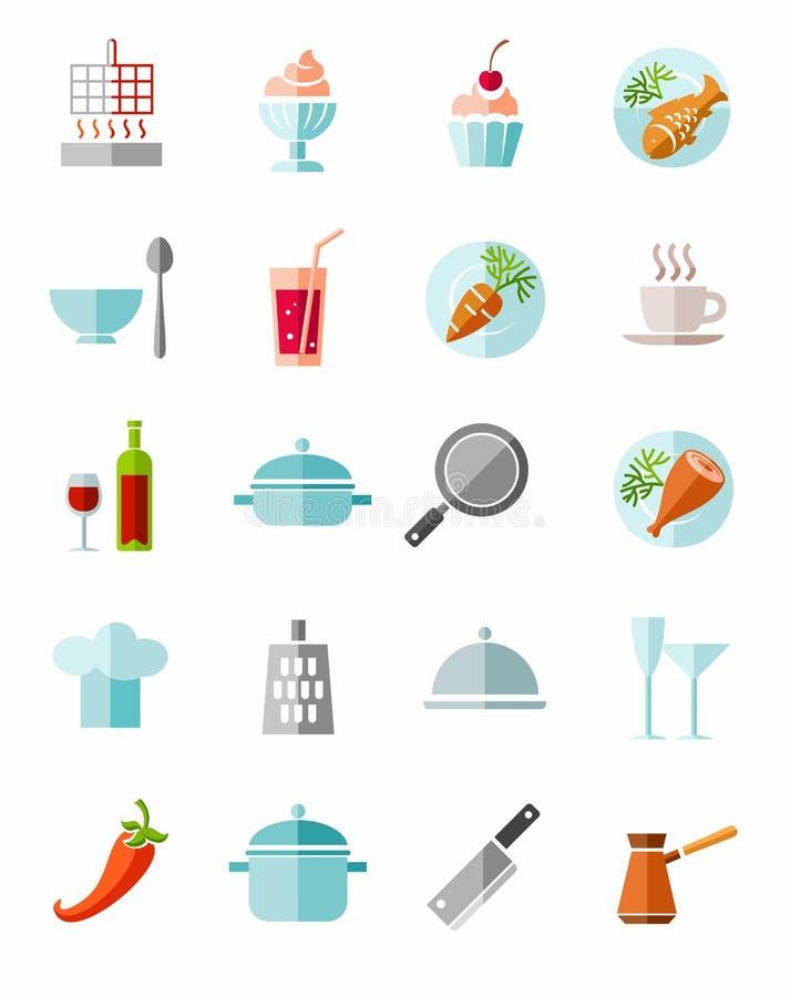 Cozinha, cozinhando, ícones da cor ilustração royalty free