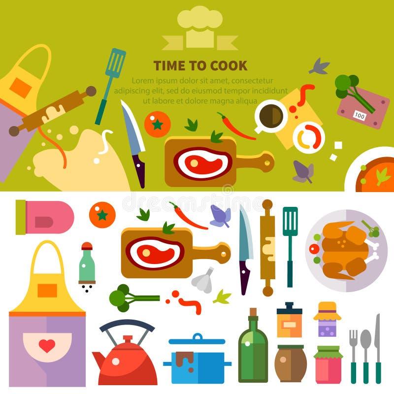 Cozinha, cozinhando ilustração stock