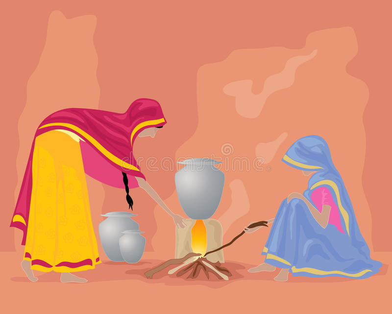 Cozinha da Índia ilustração royalty free