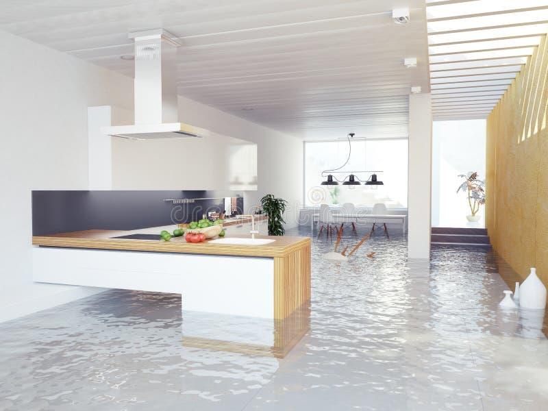 Cozinha da inundação ilustração do vetor