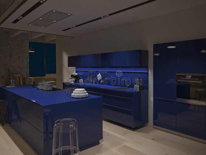 Cozinha de aço contemporânea em industrial convertido ilustração stock