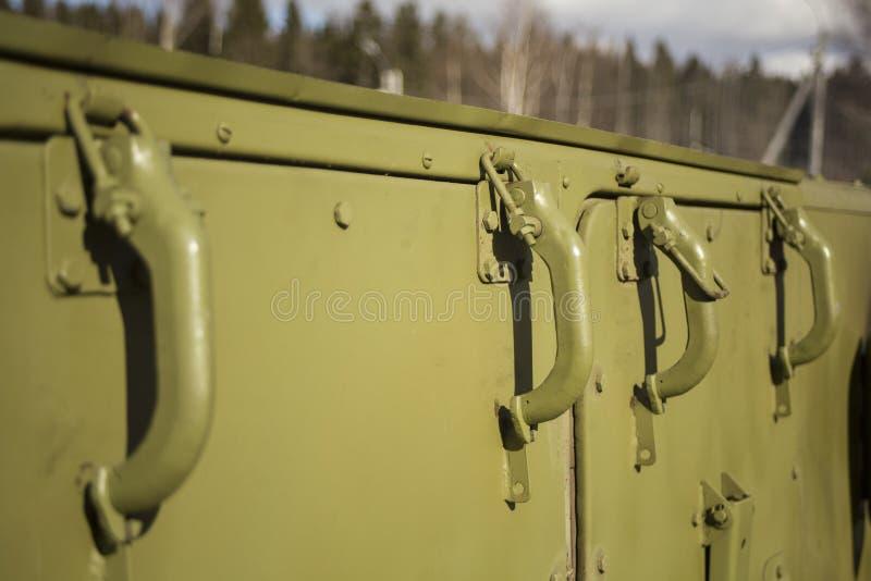 Cozinha de campo militar Cozimento no exército fotografia de stock