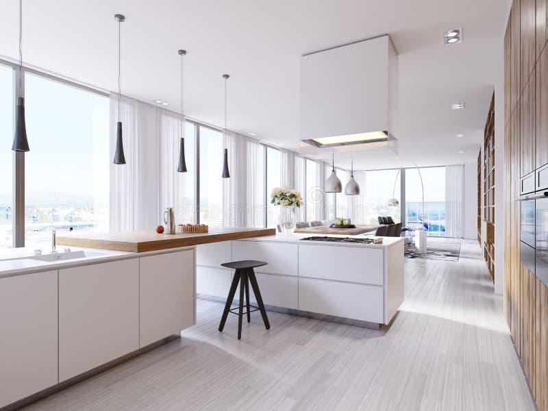 Cozinha de canto branca no estilo contemporâneo, com as cadeiras superiores e pretas da barra Lâmpadas suspendidas e capa quadrad ilustração royalty free
