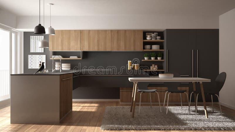 Cozinha de madeira minimalistic moderna com mesa de jantar, tapete e interior panorâmico da janela, o branco e o cinzento da arqu ilustração stock