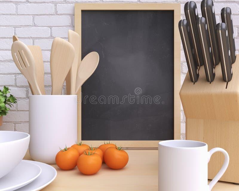 Cozinha de marcagem com ferro quente do modelo com tabela e kitchenware fotos de stock