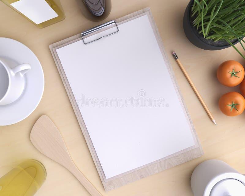 Cozinha de marcagem com ferro quente do modelo com tabela e kitchenware fotos de stock royalty free