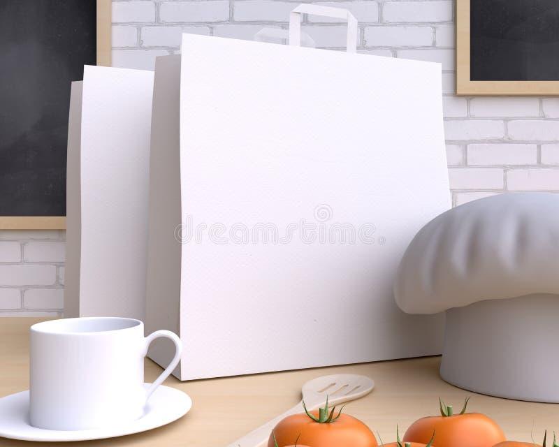 Cozinha de marcagem com ferro quente do modelo com tabela e kitchenware imagens de stock royalty free