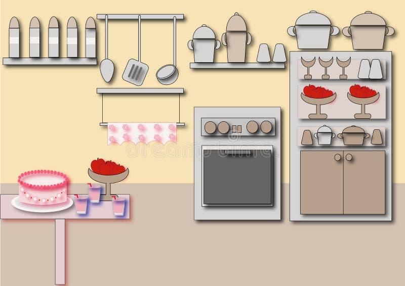 Cozinha do gabinete ilustração royalty free