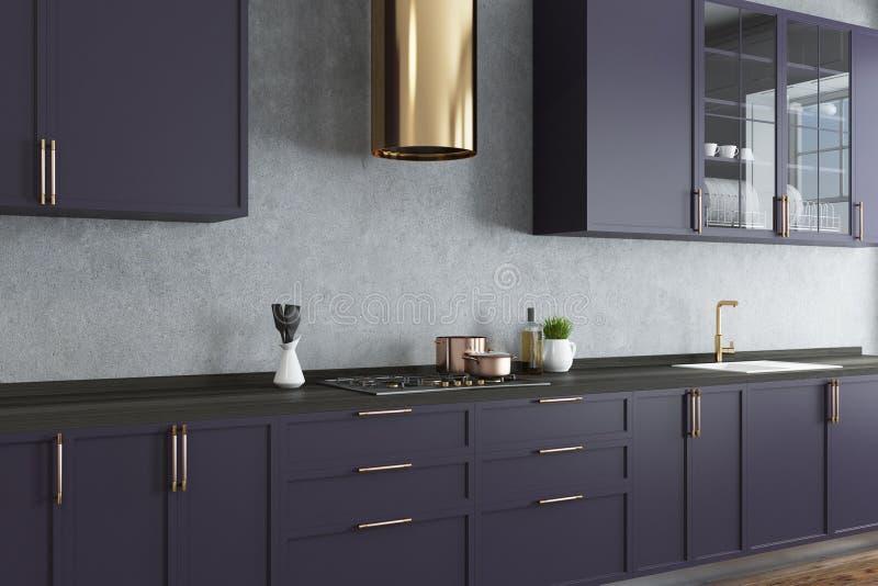 A cozinha do muro de cimento, bancadas roxas fecha-se acima ilustração royalty free