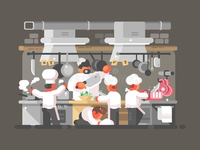Cozinha do restaurante ilustração stock