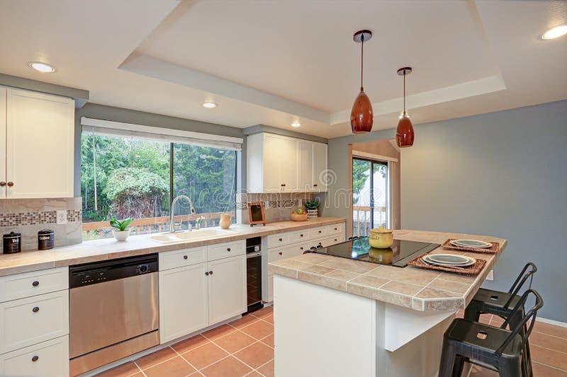 A cozinha do segundo andar vangloria-se do teto da bandeja, ilha imagens de stock royalty free