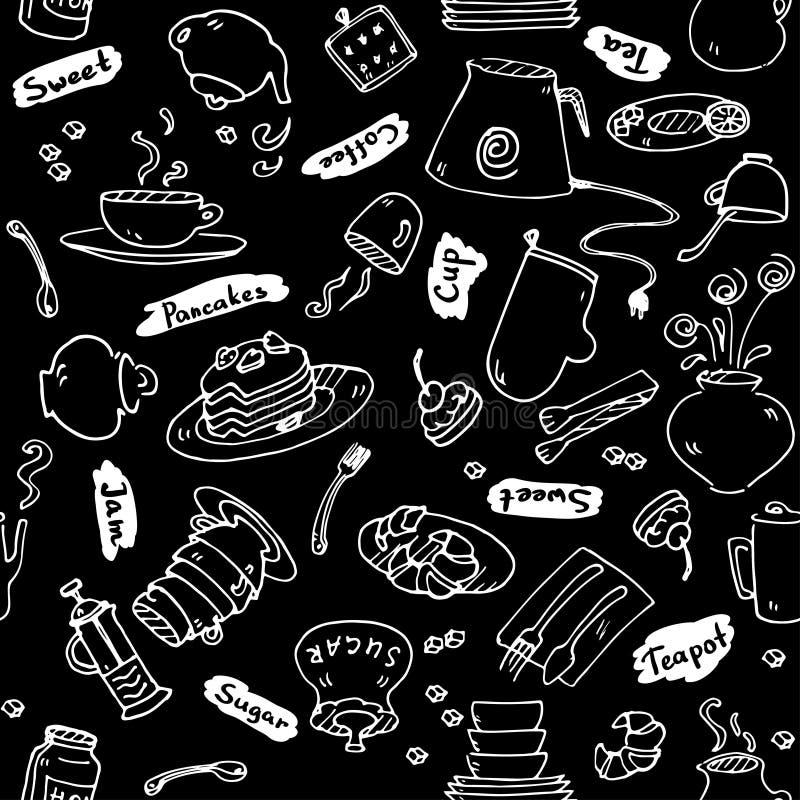 A cozinha do tea party utiliza ferramentas o teste padrão sem emenda ilustração do vetor
