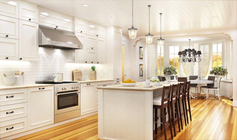 Cozinha e sala de jantar brancas luxuosas em uma grande casa bonita imagem de stock royalty free