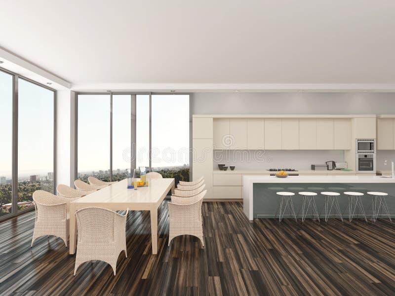Cozinha e sala de jantar de plano aberto de luxo ilustração royalty free
