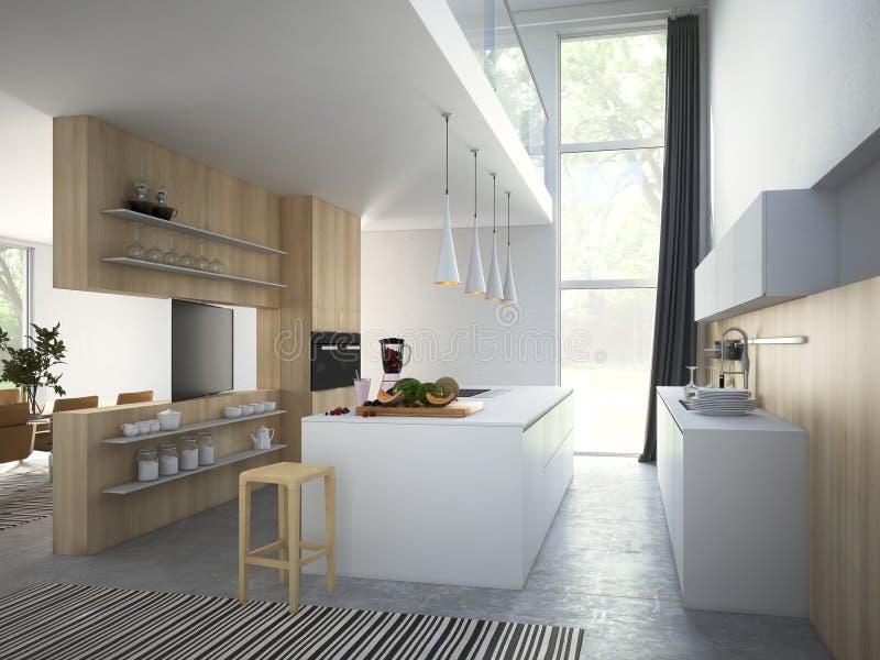 Cozinha e sala de visitas no apartamento do sótão rendição 3d imagens de stock royalty free