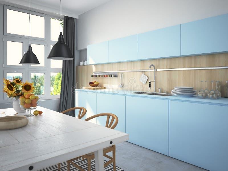Cozinha e sala de visitas no apartamento do sótão rendição 3d imagens de stock