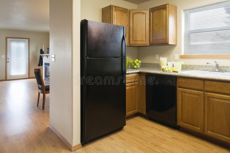 Cozinha em uma HOME modesta foto de stock