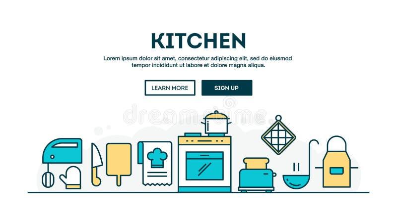 Cozinha, encabeçamento colorido do conceito, linha fina estilo do projeto liso ilustração do vetor