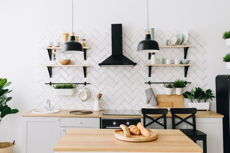 Cozinha escandinava moderna espa?oso do s?t?o com telhas brancas e os dispositivos pretos Quarto brilhante Interior moderno imagens de stock