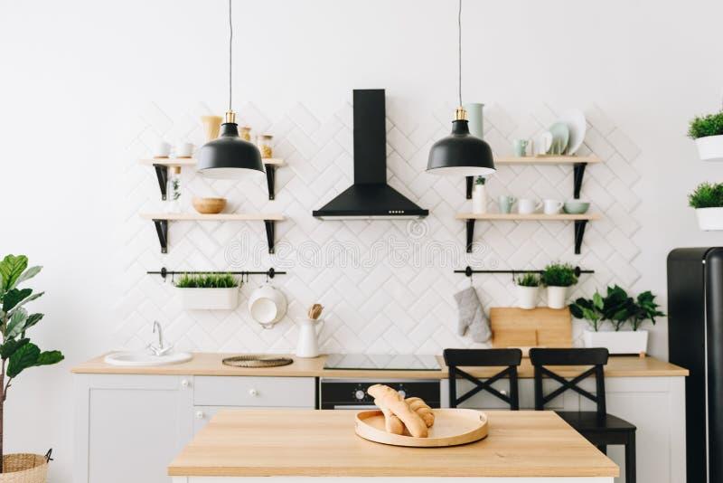 Cozinha escandinava moderna espa?oso do s?t?o com telhas brancas e os dispositivos pretos Quarto brilhante Interior moderno imagem de stock