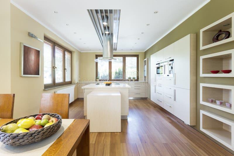 Cozinha funcional brilhante com ilha de cozinha foto de stock royalty free