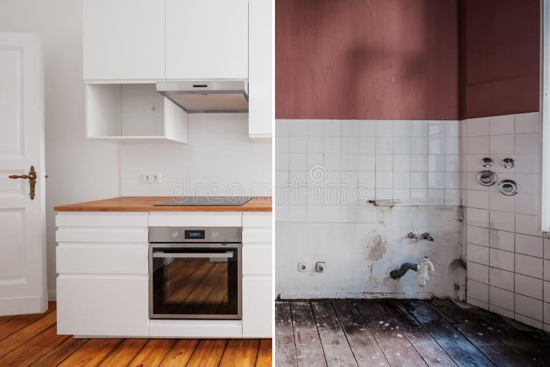 Cozinha incorporado antes e depois da restauração - conceito da renovação fotografia de stock