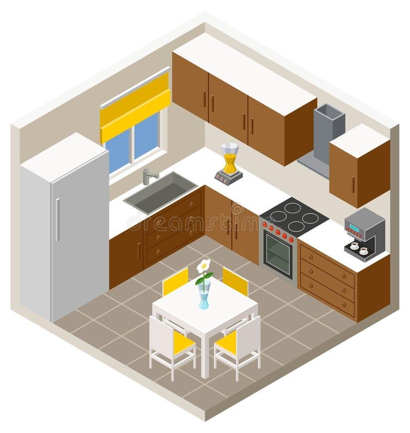 Cozinha isométrica do vetor ilustração royalty free