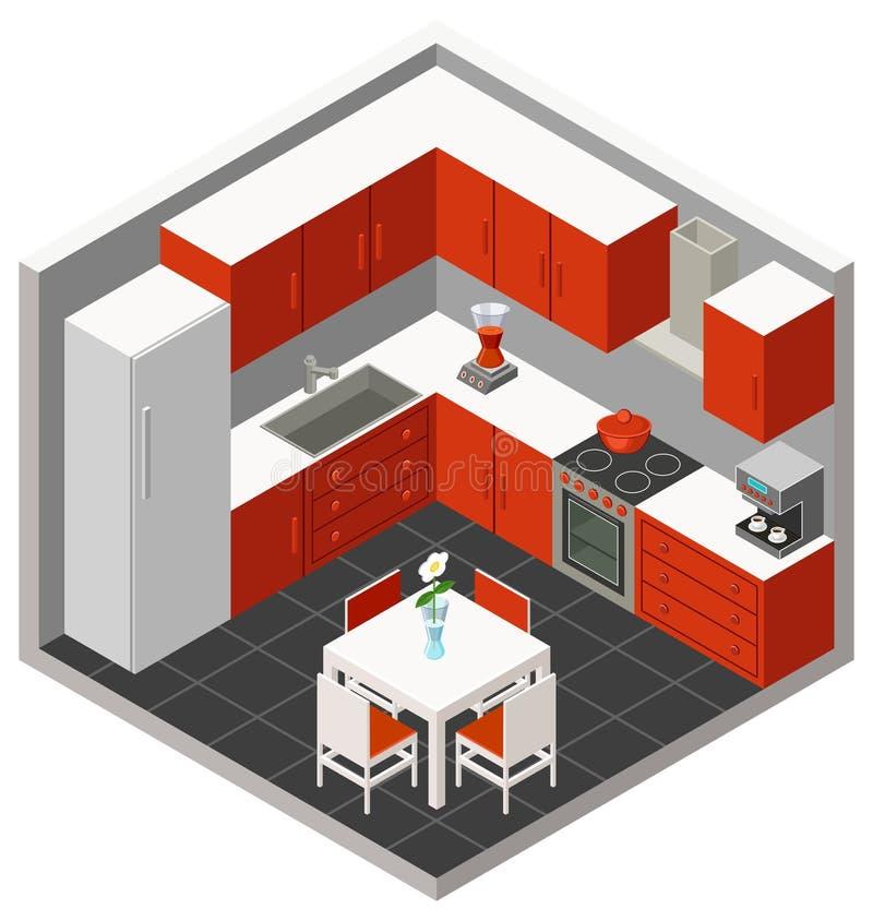 Cozinha isométrica do vetor ilustração do vetor
