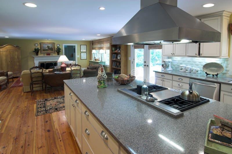 Cozinha luxuosa e área viva fotografia de stock royalty free