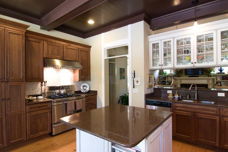 Cozinha luxuosa na madeira escura foto de stock