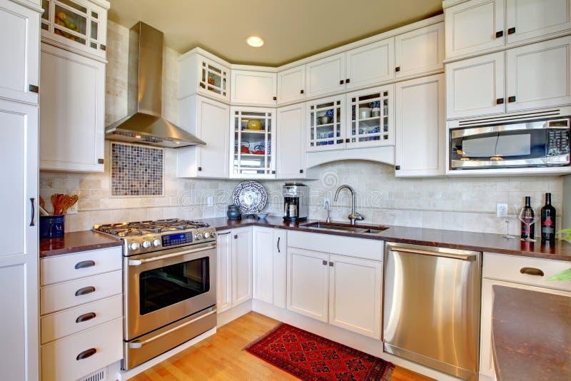 Cozinha luxuosa nova branca com dispositivos modernos. fotografia de stock