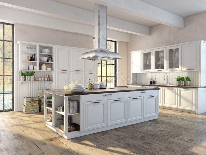Cozinha luxuoso com dispositivos de aço inoxidável fotografia de stock