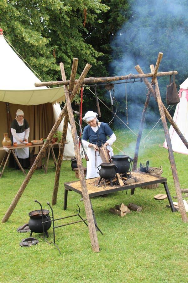 Cozinha medieval do acampamento foto de stock