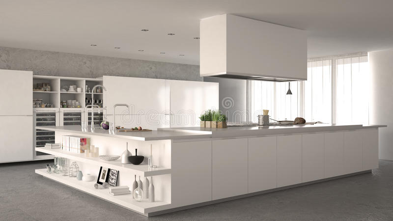 Cozinha minimalistic branca fotos de stock