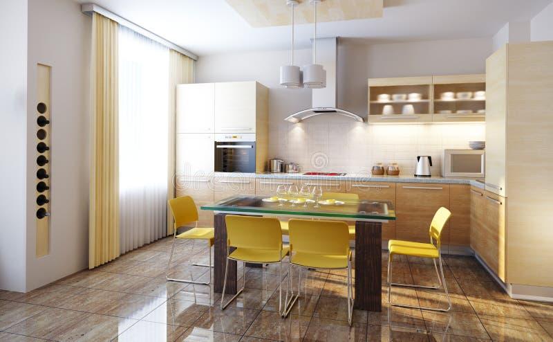 A cozinha moderna 3d interior rende ilustração royalty free